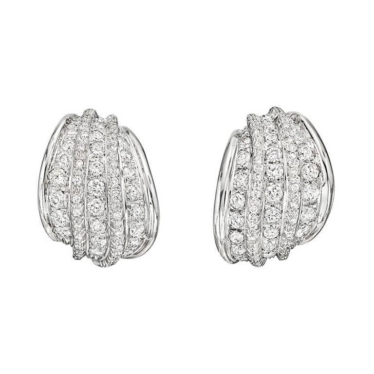 Repossi Diamond Gold Five Row Earclips