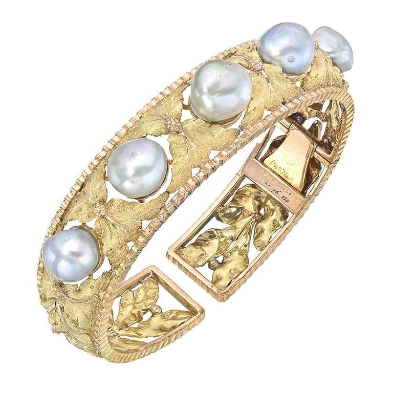 Buccellati Gold and Baroque Pearl Foliate Cuff Bracelet