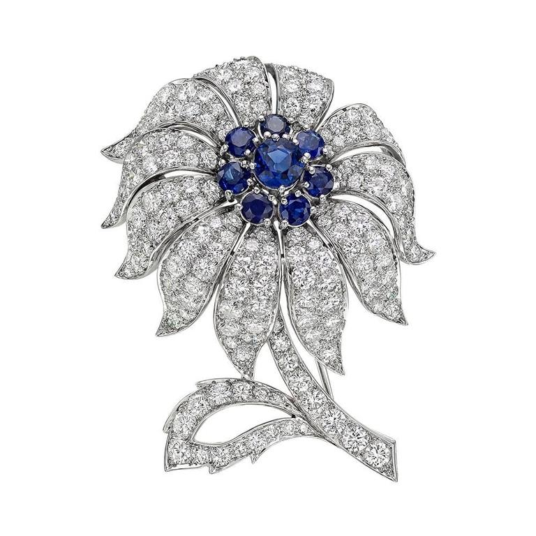 Tiffany & Co. Sapphire Diamond Platinum Flower Brooch
