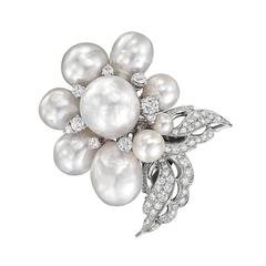 Seaman Schepps South Sea Pearl Diamond Gold Flower Brooch