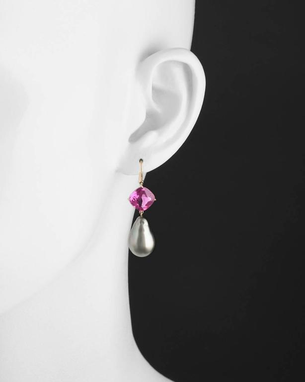 Baroque Pearl Pink Tourmaline Gold Drop Earrings 2