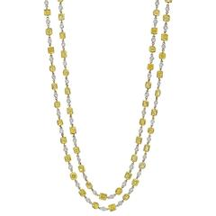 Fancy Yellow and White Diamond Gold Chain Long Necklace