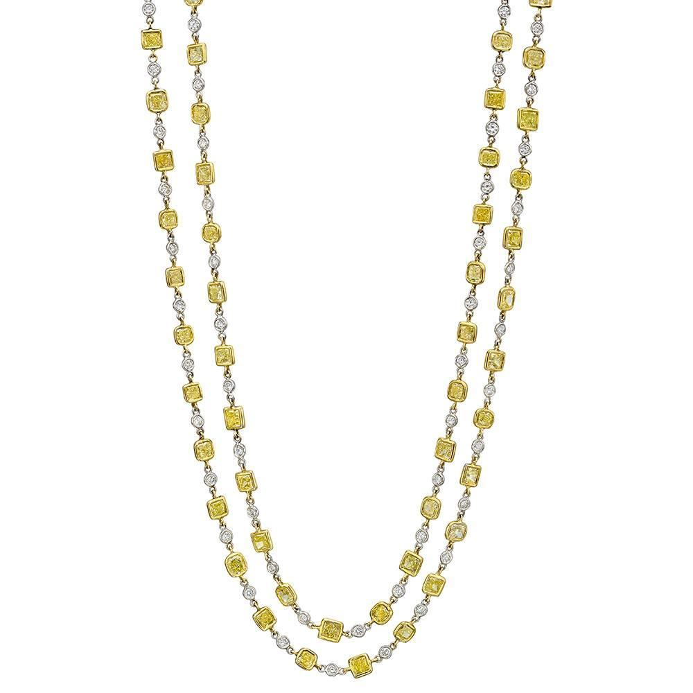 Fancy Yellow and White Diamond Gold Chain Long Necklace at 1stdibs