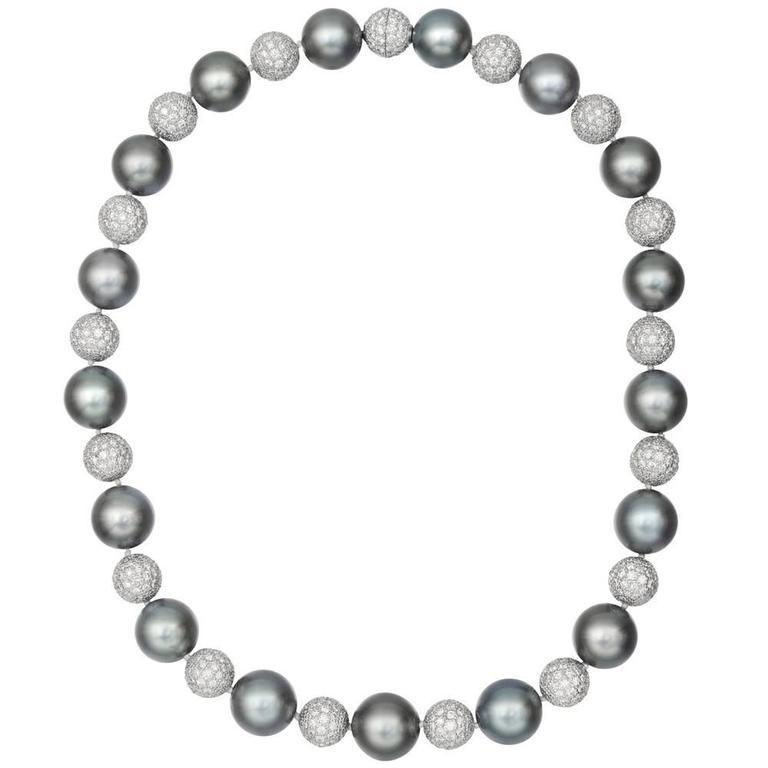 Betteridge Tahitian Pearl Pavé Diamond Ball Necklace