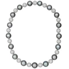 Betteridge Tahitian Pearl Pavé Diamond Ball Necklace