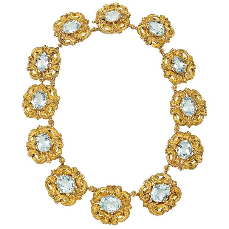 Georgian Gold and Aquamarine Link Necklace
