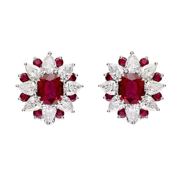 Ruby And Diamond Sunburst Cer Earrings