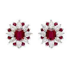 "Ruby and Diamond ""Sunburst"" Cluster Earrings"