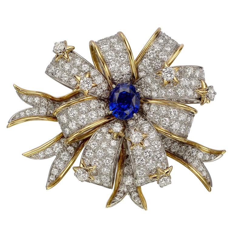 """Tiffany & Co. Schlumberger Diamond and Sapphire """"Ribbons"""" Brooch"""