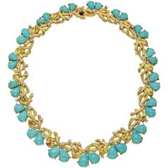Turquoise Diamond gold Braided Branch motif collar Necklace