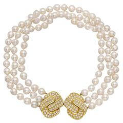 3-Strand Pearl Necklace with Diamond Gold Double Clasp