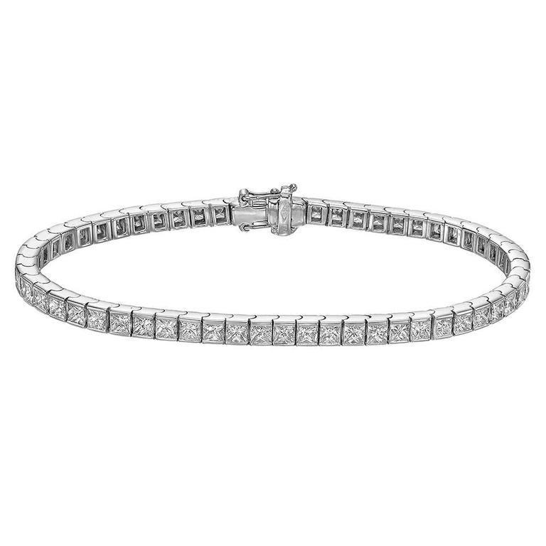 Princess-Cut Diamond Line Bracelet