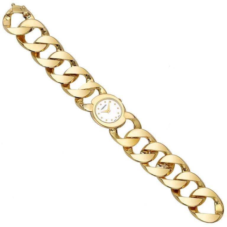 Verdura ​Yellow Gold Curb-Link Bracelet Quartz Wristwatch  For Sale