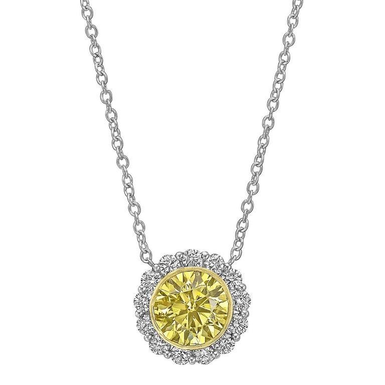 Betteridge 3.52 Carat Yellow and White Diamond Cluster Pendant