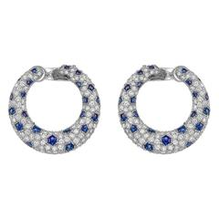 "Cartier Diamond and Sapphire ​""Panthère"" Hoop Earrings"