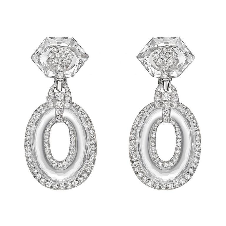 David Webb Rock Crystal Diamond Twilight Drop Earrings For Sale