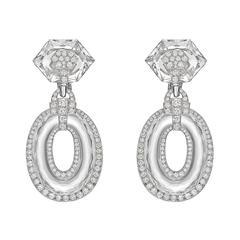 David Webb Rock Crystal Diamond Twilight Drop Earrings