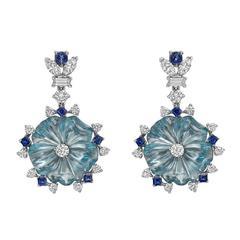 Raymond Yard Aquamarine Diamond Sapphire Pendant Earrings