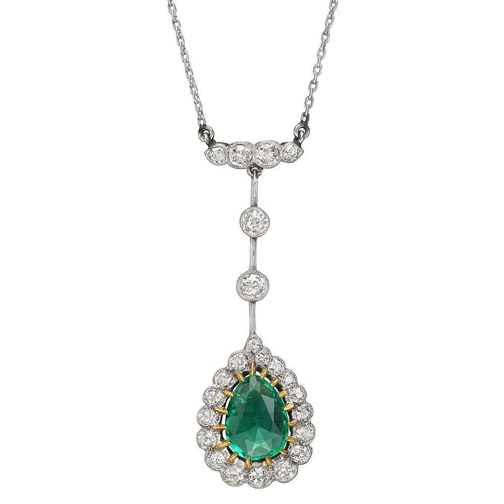Antique georgian emerald and diamond pendant in 14k gold silver top antique georgian emerald and diamond pendant in 14k gold silver top hm1435 for sale at 1stdibs aloadofball Images