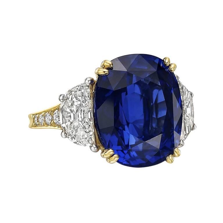 AGL Certified 14.81 Carat Ceylon Sapphire Diamond Ring For Sale