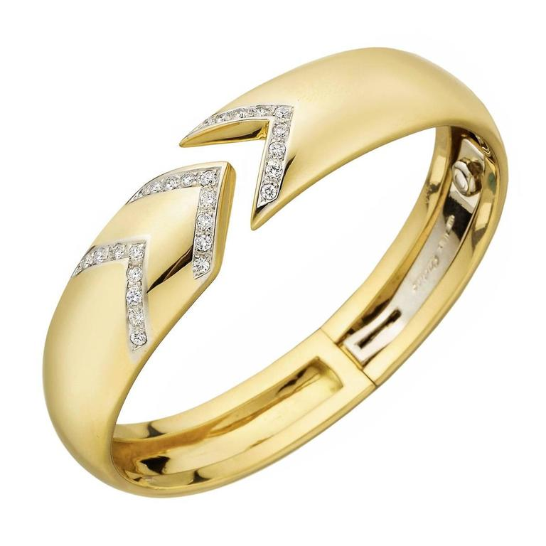 Cartier Diamond Yellow Gold Chevron Cuff Bracelet 1