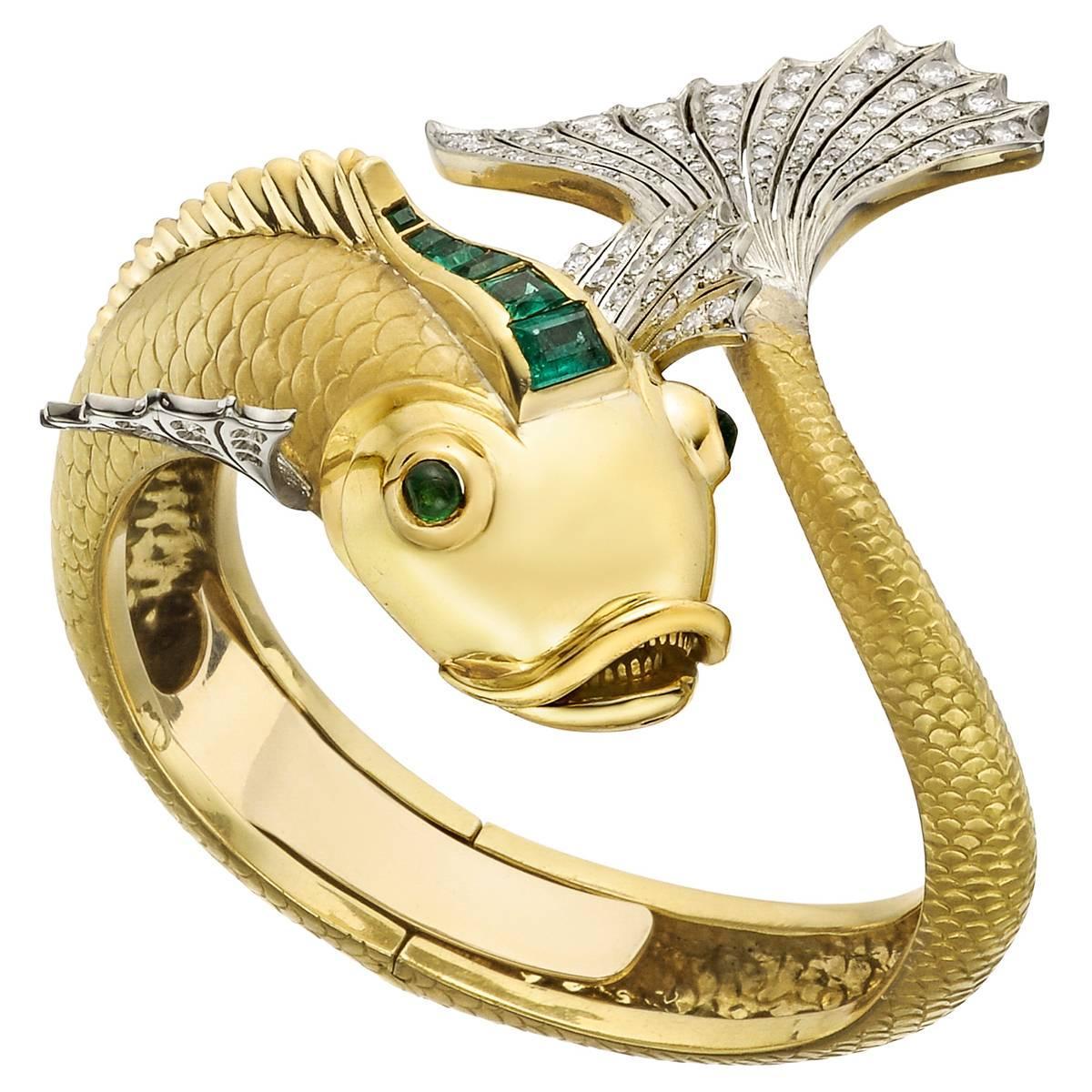Emerald Diamond Gold Koi Fish Cuff Bracelet For Sale at 1stdibs