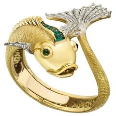 Emerald Diamond Gold Koi Fish Cuff Bracelet