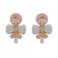 Boucheron Pink and White Diamond Gold Bow Earclips