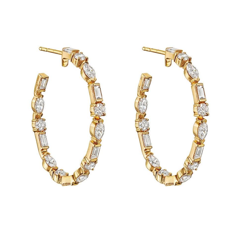 Ivanka Trump Mixed-Cut Diamond Gold Hoop Earrings 1