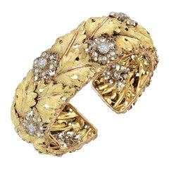 Buccellati Gold Diamond Flower Cluster Cuff Bracelet