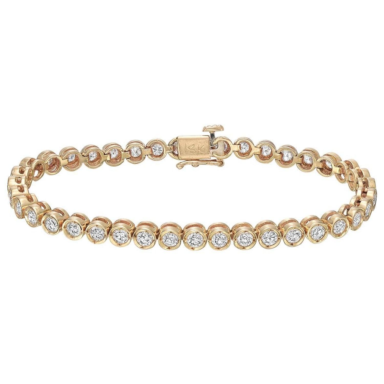 Yellow Gold Diamond Line Bracelet 4 Carat