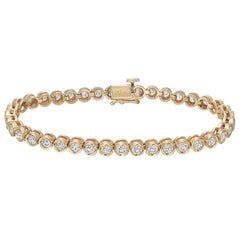 Yellow Gold Diamond Line Bracelet, 4 Carat