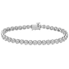 White Gold Diamond Line Bracelet, 4 Carat