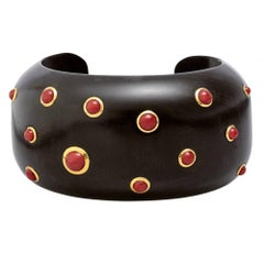 Trianon Ebony Wood Cuff with Cabochon Red Coral