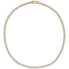 Bezel-Set Diamond Line Necklace, 10 Carat