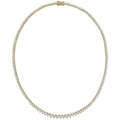 Yellow Gold Diamond Line Necklace, 7.5 Carat