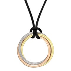 "Cartier Extra Large Tri-Colored Gold Diamond ""Trinity"" Pendant"