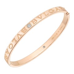 "Bulgari 18 Karat Pink Gold and Diamond ""Bvlgari-Bvlgari"" Bangle"