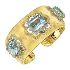 Buccellati Gold Emerald-Cut Aquamarine Cuff Bracelet