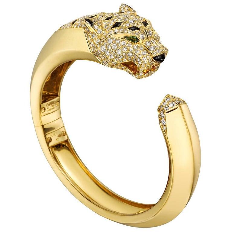 Cartier Diamond Black Onyx Panthère Cuff Bracelet