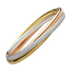 "Cartier Tri-Colored Gold Diamond ""Trinity"" Bangle"