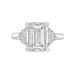 Betteridge GIA Report 4.11 Carat Emerald-Cut Diamond Engagement Ring