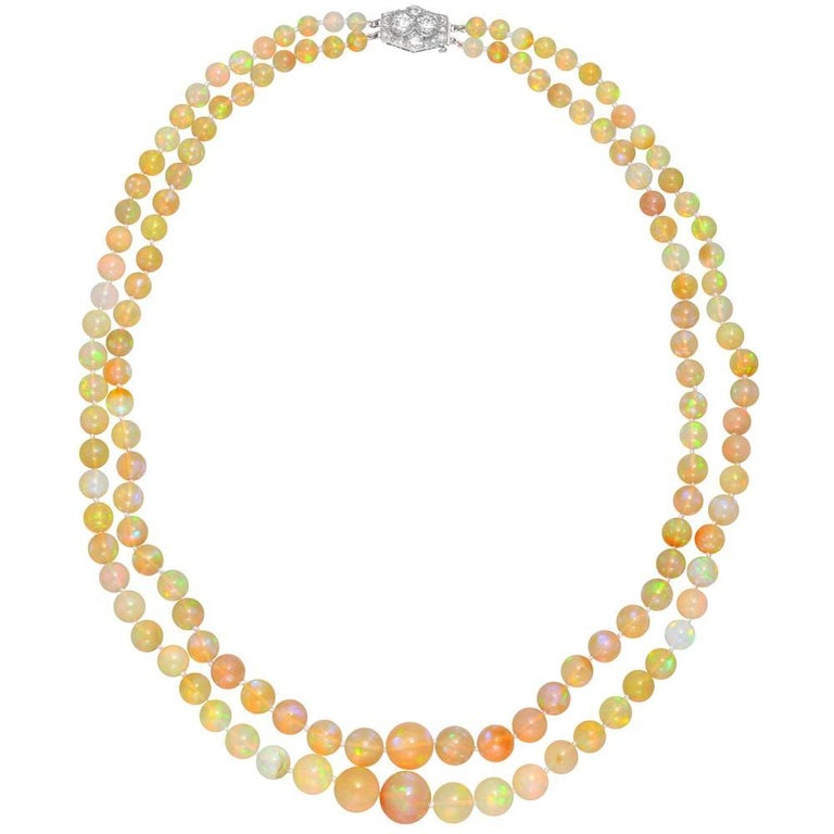 Two-Strand Opal Bead Necklace with Diamond-Set Clasp