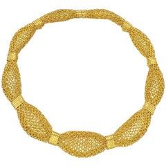 Woven 24 Karat Yellow Gold Necklace