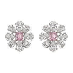 Martin Katz Fancy Intense Pink Colorless Diamond Cluster Earrings