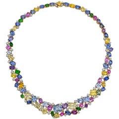 Oscar Heyman Multicolored Sapphire Diamond Necklace