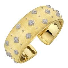 Buccellati Gold Diamond Cuff Bracelet