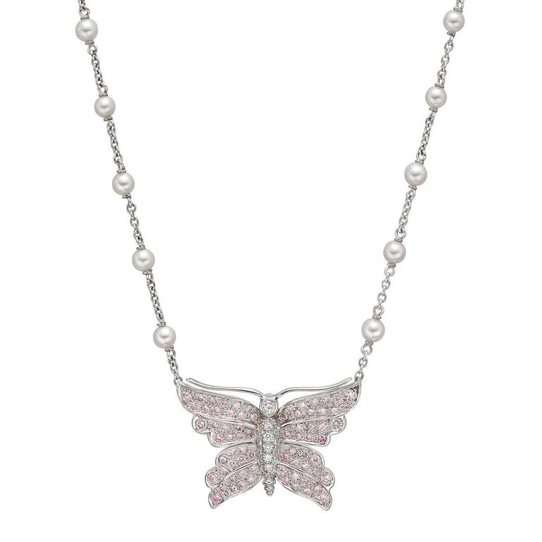 Tiffany and co pink white diamond butterfly pendant necklace at tiffany co pink white diamond butterfly pendant necklace 1 audiocablefo light Images