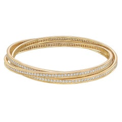 "Cartier Diamond Yellow Gold ""Trinity"" Bangle"