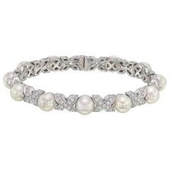 "Bulgari Pearl Diamond ""X"" Cuff Bracelet"